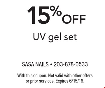 15% off UV gel set. With this coupon. Not valid with other offers or prior services. Expires 6/15/18.