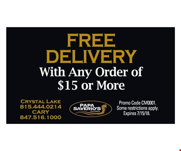 free delivery. Expires 7/15/18.