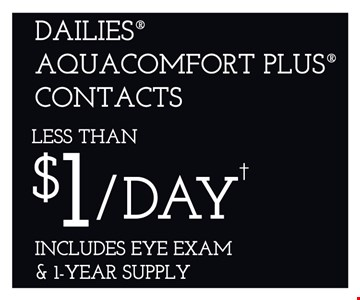 Dailies Aquacomfort Plus contacts less than $1/Day Includes eye exam & 1 year supply