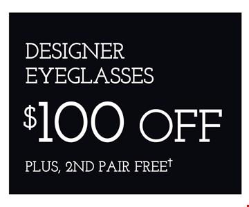$100 off Designer Eyeglasses