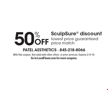 50% Off SculpSure discount. Lowest price guaranteed price match. With this coupon. Not valid with other offers or prior services. Expires 2-9-18. Go to LocalFlavor.com for more coupons.
