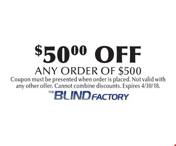 $50.00 OFF any order of $500. Coupon must be presented when order is placed. Not valid with any other offer. Cannot combine discounts. Expires 4/30/18.