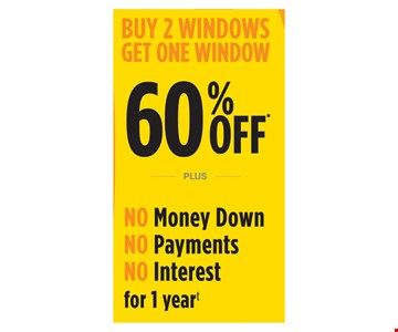 Buy 2 windows get one window 60% Off PLUS no money down, no payments, no interest for 1 year. Void where prohibited by law. Promotions may not be combined or used with prior purchases. Customer will receive 1 window at 60% off list price for every 2 windows purchased at list price. The least expensive windows are the windows that are 60% off. Promotion to be applied by sales representative at time of contract execution with 8 window minimum purchase. Available at time of initial visit only. Expires 06/25/18. No Money Down, No Interest, No Payments applies if the balance is paid in full within 12 months. Renewal by Andersen of Eastern NY [RBA] is neither a broker nor a lender. Financing is provided by 3rd party lenders unaffiliated with RBA, under terms and conditions arranged directly between the customer and such lender, all subject to