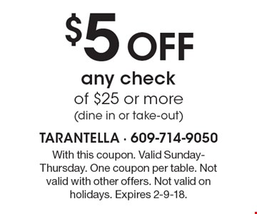 $5 Off any check of $25 or more (dine in or take-out). With this coupon. Valid Sunday-Thursday. One coupon per table. Not valid with other offers. Not valid on holidays. Expires 2-9-18.