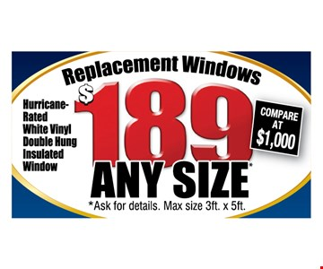 Replacement Windows $189 any size