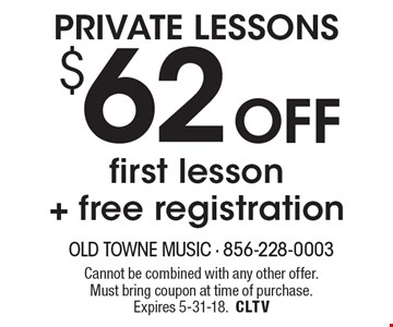 PRIVATE LESSONS $62 Off first lesson+ free registration. Cannot be combined with any other offer. Must bring coupon at time of purchase. Expires 5-31-18.CLTV