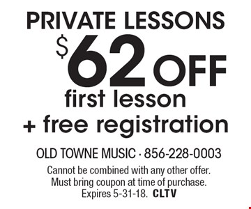 PRIVATE LESSONS $62Off first lesson+ free registration. Cannot be combined with any other offer. Must bring coupon at time of purchase. Expires 5-31-18.CLTV