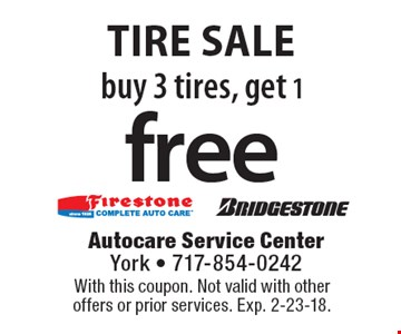 Buy 3 tires, get 1 free tire sale. With this coupon. Not valid with other offers or prior services. Exp. 2-23-18.