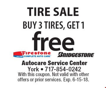 BUY 3 TIRES, GET 1 free tire sale. With this coupon. Not valid with other offers or prior services. Exp. 6-15-18.