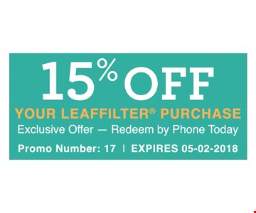 15% Off Your Leaffilter® Purchase