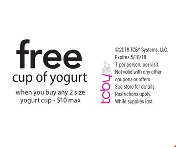 Free cup of yogurt when you buy any 2 size yogurt cup - $10 max. 2018 TCBY Systems, LLC. Expires 5/18/18. 1 per person, per visit. Not valid with any other coupons or offers. See store for details. Restrictions apply. 