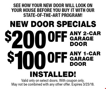 NEW DOOR SPECIALS See how your new door will look on