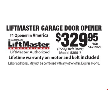 $329.95 LIFTMASTER GARAGE DOOR OPENER