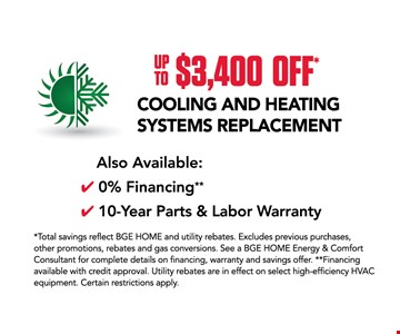 Heating and cooling systems replacement up to $3400 off