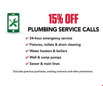 15% off plumbing service calls