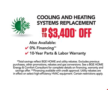 up to $3400 off cooling and heating systems replacement