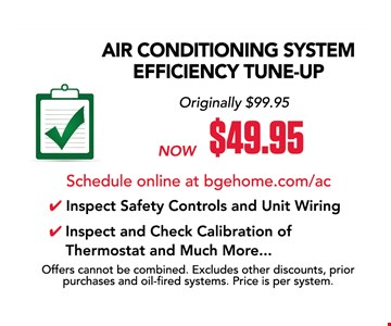 $49.95 Air conditioning tune-up