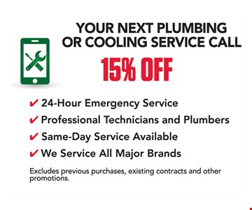 15% off your next plumbing or cooling service call