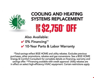 up to $2750 off cooling and heating systems replacement