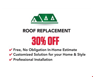 30% off roof replacement