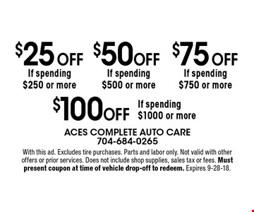 $25 Off If spending $250 or more. $50 Off If spending $500 or more. $75 Off If spending $750 or more. $100 Off If spending $1000 or more. . With this ad. Excludes tire purchases. Parts and labor only. Not valid with other offers or prior services. Does not include shop supplies, sales tax or fees. Must present coupon at time of vehicle drop-off to redeem. Expires 9-28-18.