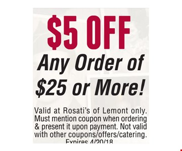 $5 Off any order of $25 or more