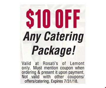 $10 off any catering package!