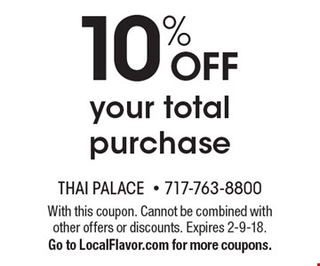 10% OFF your total purchase. With this coupon. Cannot be combined with other offers or discounts. Expires 2-9-18.Go to LocalFlavor.com for more coupons.