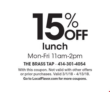 15% OFF lunch Mon-Fri 11am-2pm. With this coupon. Not valid with other offers or prior purchases. Valid 3/1/18 - 4/13/18.Go to LocalFlavor.com for more coupons.