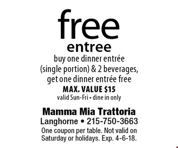free entree buy one dinner entree (single portion) & 2 beverages, get one dinner entree freemax. value $15valid Sun-Fri - dine in only. One coupon per table. Not valid onSaturday or holidays. Exp. 4-6-18.