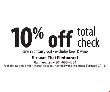 10% off total check. Dine in or carry-out. Excludes beer & wine. With this coupon. Limit 1 coupon per order. Not valid with other offers. Expires 6-30-18.