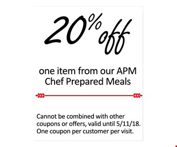 20% Off one APM Chef Prepared Meals