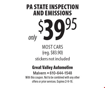 only $39.95 PA State Inspection And Emissions Most Cars (reg. $83.90) stickers not included. With this coupon. Not to be combined with any other offers or prior services. Expires 2-9-18.