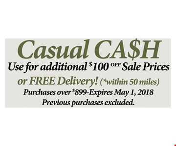 $100 Off sale Prices or free delivery