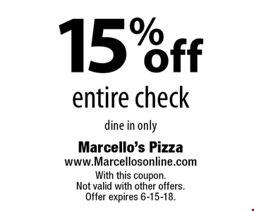 15% off entire check. Dine in only. With this coupon. Not valid with other offers. Offer expires 6-15-18.