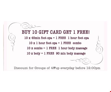 Buy 10 gift cards, get 1 free!