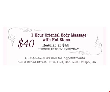 $40 1 hour oriental body massage with hot stone