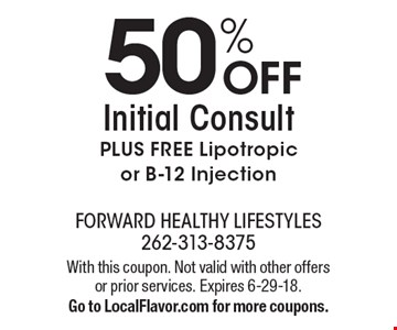 50% OFF Initial Consult PLUS FREE Lipotropic or B-12 Injection. With this coupon. Not valid with other offers or prior services. Expires 6-29-18. Go to LocalFlavor.com for more coupons.