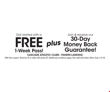 Join & receive our 30-Day Money Back Guarantee! Get started with a FREE 1-Week Pass! With this coupon. Must be 16 or older with photo ID. Additional conditions apply. Not valid with other offers. Exp. 4-2-18.