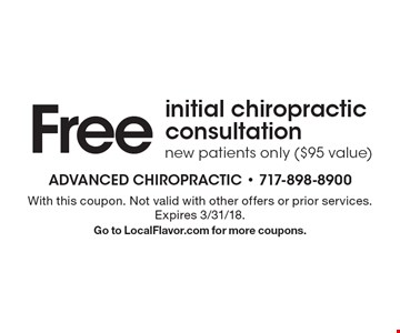 Free initial chiropractic consultation. New patients only ($95 value). With this coupon. Not valid with other offers or prior services. Expires 3/31/18.Go to LocalFlavor.com for more coupons.