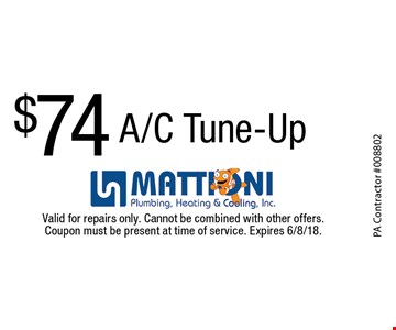 $74 A/C Tune-Up. Valid for repairs only. Cannot be combined with other offers. Coupon must be present at time of service. Expires 6/8/18.