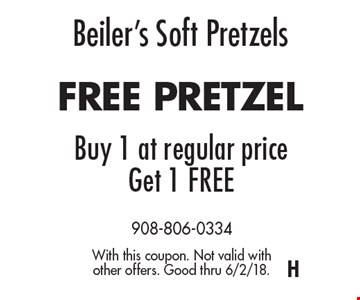 Beiler's Soft Pretzels. FREE PRETZEL. Buy 1 at regular price, Get 1 FREE. With this coupon. Not valid with other offers. Good thru 6/2/18.