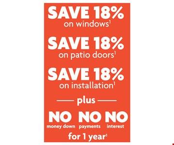 Save 18% on windows, doors, & installation!