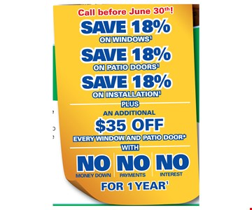 """Save 18% on Windows, Save 18% on patio doors, save 18% on installation Plus an additional $35 Off every window and patio door with No money down, No payments, No interest for 1 year. Offer not available in all areas. Discount applied by retailer representative at time of contract execution and applies to purchase of 3 or more windows and/or patio doors. Cannot be combined with other offers. To qualify for discount offer, initial contact for a free Window and Patio Door Diagnosis must be made and documented on or before 6/30/18, with the appointment then occurring no more than 10 days after the initial contact. No payments and deferred interest for 12 months available to well qualified buyers on approved credit only. Not all customers may qualify. Higher rates apply for customer with lower credit ratings. Financing not valid with other offers or prior purchases. No Finance Charges will be assessed if promo balance is paid in full in 12 months. Renewal by Andersen retailers are independently owned and operated retailers, and are neither brokers nor lenders. Any finance terms advertised are estimates only, and all financing is provided by third-party lenders unaffi liated with Renewal by Andersen retailers, under terms and conditions arranged directly between the customer and such lender, all subject to credit requirements. Renewal by Andersen retailers do not assist with, counsel or negotiate financing, other than providing customers an introduction to lenders interested in financing. PA Lic. #001884. NJ Lic. #13VH05055400. J&M Windows, Inc, d/b/a Renewal by Andersen of Greater Philadelphia. """"Renewal by Andersen"""" and all other marks where denoted are marks of Andersen Corporation. ©2018 Andersen Corporation. All rights reserved. ©2018 Lead Surge LLC. All rights reserved. Additional $35 off every window and patio door discount valid during fi rst appointment only. See limited warranty for details."""