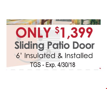 Only $1,399 Sliding Patio Door