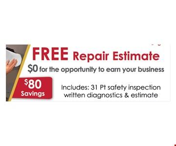 Free repair estimate  - $80 savings