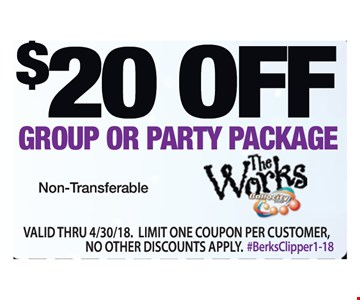 $20 off group or party package. Non-Transferable. Valid thru 4/30/18. Limit one coupon per customer. No other discounts apply.