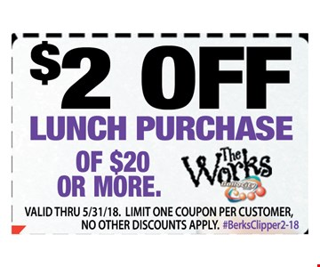 $2 Off Lunch Purchase Of $20 Or More