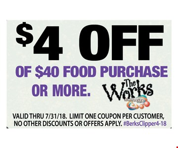 $4 Off $40 Or More Food Purchase