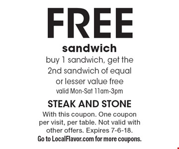 Free sandwich - buy 1 sandwich, get the 2nd sandwich of equal or lesser value free - valid Mon - Sat 11am-3pm. With this coupon. One coupon per visit, per table. Not valid with other offers. Expires 7-6-18. Go to LocalFlavor.com for more coupons.